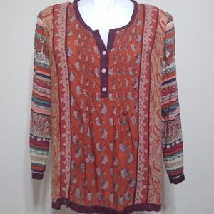 Lucky Brand Annabeth Mixed Print Boho Top